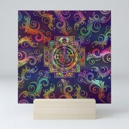 Colorful Gold framed Sri Yantra Sri Chakra Mini Art Print