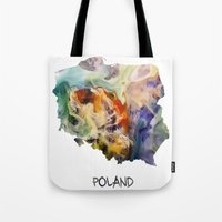 poland Tote Bags featuring Map of Poland watercolor by jbjart
