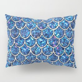 Sparkly Blue & Silver Glitter Mermaid Scales Pillow Sham