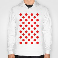 polka Hoodies featuring Polka Dots (Red/White) by 10813 Apparel