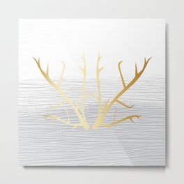 368 6 Gold Antlers on White and Gray Metal Print