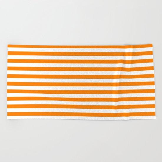 Horizontal Stripes (Orange/White) Beach Towel