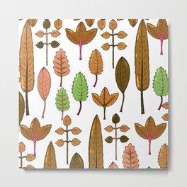 Abstract Green Brown Orange Fall Foliage Pattern Metal Print