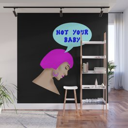 Not your baby. Pop art style comic. Sad melancholic girl with neon pink Cleopatra hair Wall Mural