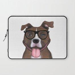 Hipster Pit Bull Laptop Sleeve
