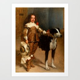 """Diego Velázquez """"Portrait of a Buffoon with a Dog"""" Art Print"""