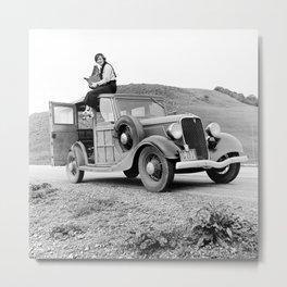 Dorothea Lange on Car, 1936 - Vintage Photo Metal Print