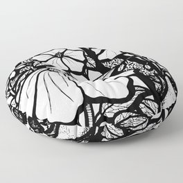 Black and White Flowers In The Sun Floor Pillow