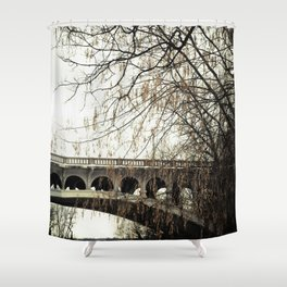 Vintage Retro Rustic Bridge with Framing Tree Desaturated Colored Wall Art Lustre Print OR Framed Pr Shower Curtain