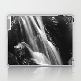 Black and white waterfall in Hell Gorge, Slovenia Laptop & iPad Skin