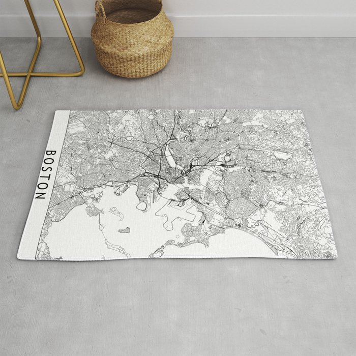 Boston White Map Rug By Multiplicity