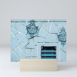 Blue Window on Blue Wall . Travel Photography . Sapa, Vietnam Mini Art Print