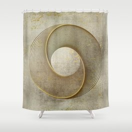 Geometrical Line Art Circle Distressed Gold Shower Curtain