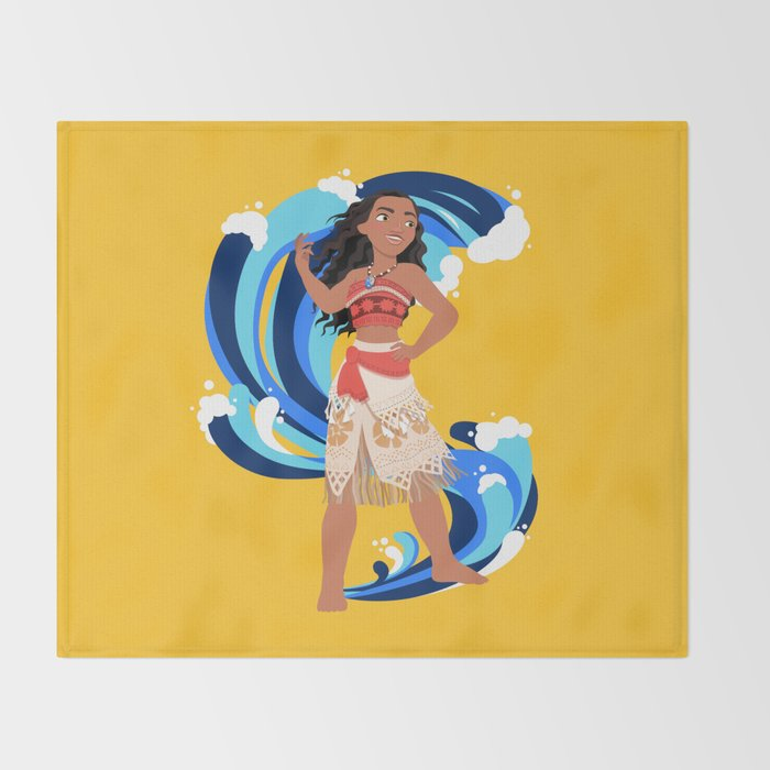 Moana and the Ocean's Waves Throw Blanket