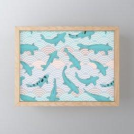 Koi carp. Blue fish. Asian wave circle background Framed Mini Art Print
