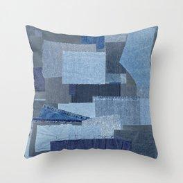 Boroboro Blue Jean Japanese Boro Inspired Patchwork Shibori Throw Pillow