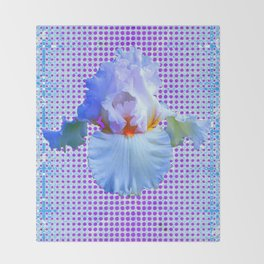 AWESOME BLUISH-WHITE PASTEL IRIS OPTICAL ART Throw Blanket