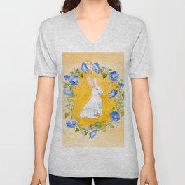 White Rabbit in Blue Flowers Unisex V-Neck