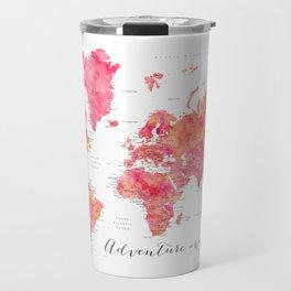 "Adventure Awaits watercolor world map in hot pink and orange, ""Tatiana"" Travel Mug"