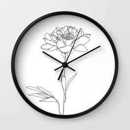 Botanical floral illustration line drawing - Lorna White Wall Clock