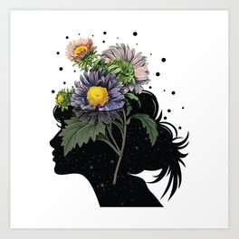 Flower pot head galaxy Art Print