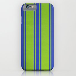 Blue lines on a green background iPhone Case