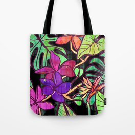 Tropical leaves and flowers, jungle print Tote Bag