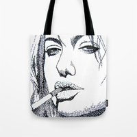angelina jolie Tote Bags featuring Angelina Jolie by The Curly Whirl Girly.