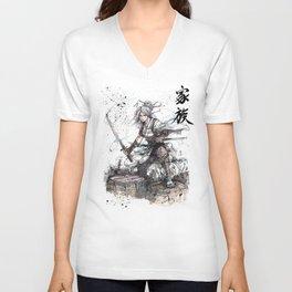 Samurai Girl with Japanese Calligraphy - Family - Ciri Parody Unisex V-Neck