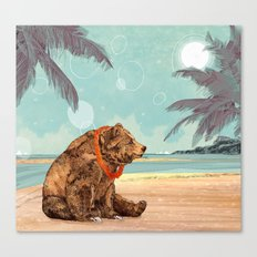 Beach Bear Canvas Print