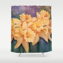 YELLOW DAFFODIL FLOWERS in WATERCOLORS Shower Curtain