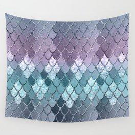 Mermaid Scales Navy Blue Teal Purple Glam #1 #shiny #decor #art #society6 Wall Tapestry