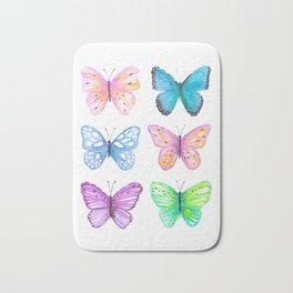 Vibrant butterflies watercolor Bath Mat