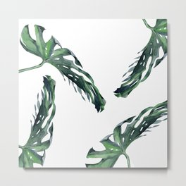 Tropics Palm Leaves Green Metal Print
