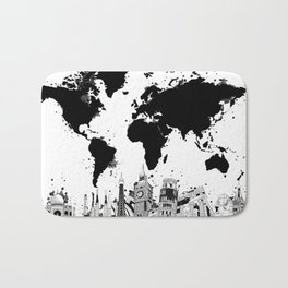 world map city skyline 4 Bath Mat