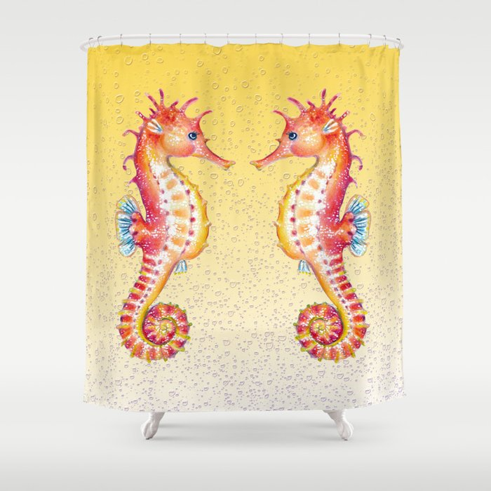 Seahorses Yellow Bubble Shower Curtain