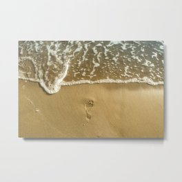 footprint on the beach Metal Print