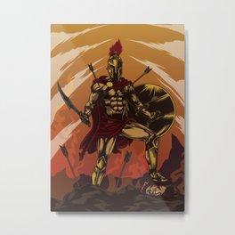 Spartan Warrior Triumphs Over His Enemies Metal Print