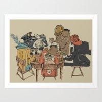 poker Art Prints featuring Polaroid Poker by Romayne Robinson