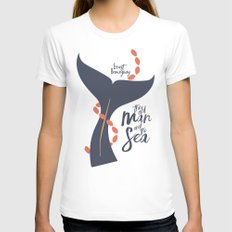 the Old Man and The Sea - Hemingway Book Cover Illustration MEDIUM White Womens Fitted Tee