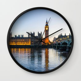 Big Ben During Sunset | London England Europe Cityscape Night Photography Wall Clock