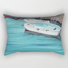 Dinghy Boats Ocean Dock Blue Sea Rectangular Pillow