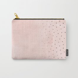 Rose Gold Pastel Pink Foil Paint Line Dots XXIII Carry-All Pouch