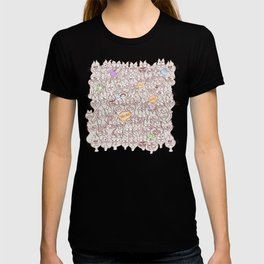 Seamless pattern world crowded with funny cats T-shirt