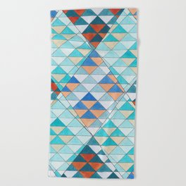 Triangle Pattern No.10 Shifting Turquoise and Orange Beach Towel