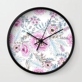 Watercolor . Pink flowers . Wall Clock
