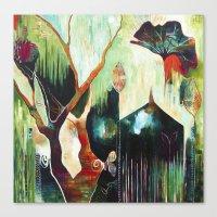"flora bowley Canvas Prints featuring ""Temple Lilies"" Original Painting by Flora Bowley by Flora Bowley"
