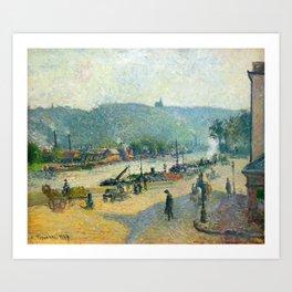 """Camille Pissarro """"Place Lafayette, Rouen""""(""""The Quays at Rouen"""") Art Print"""