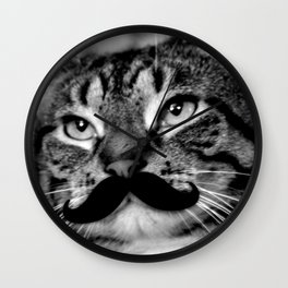 He's a Cat with a Mustache Wall Clock