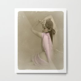 """Mattaharish"" - The Playful Pinup - Vintage Weathered Pinup Girl by Maxwell H. Johnson Metal Print"